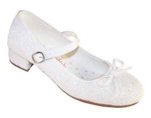 Details About Girls Children White Low Heel Sparkly Flower Girl Communion Bridesmaid Shoes