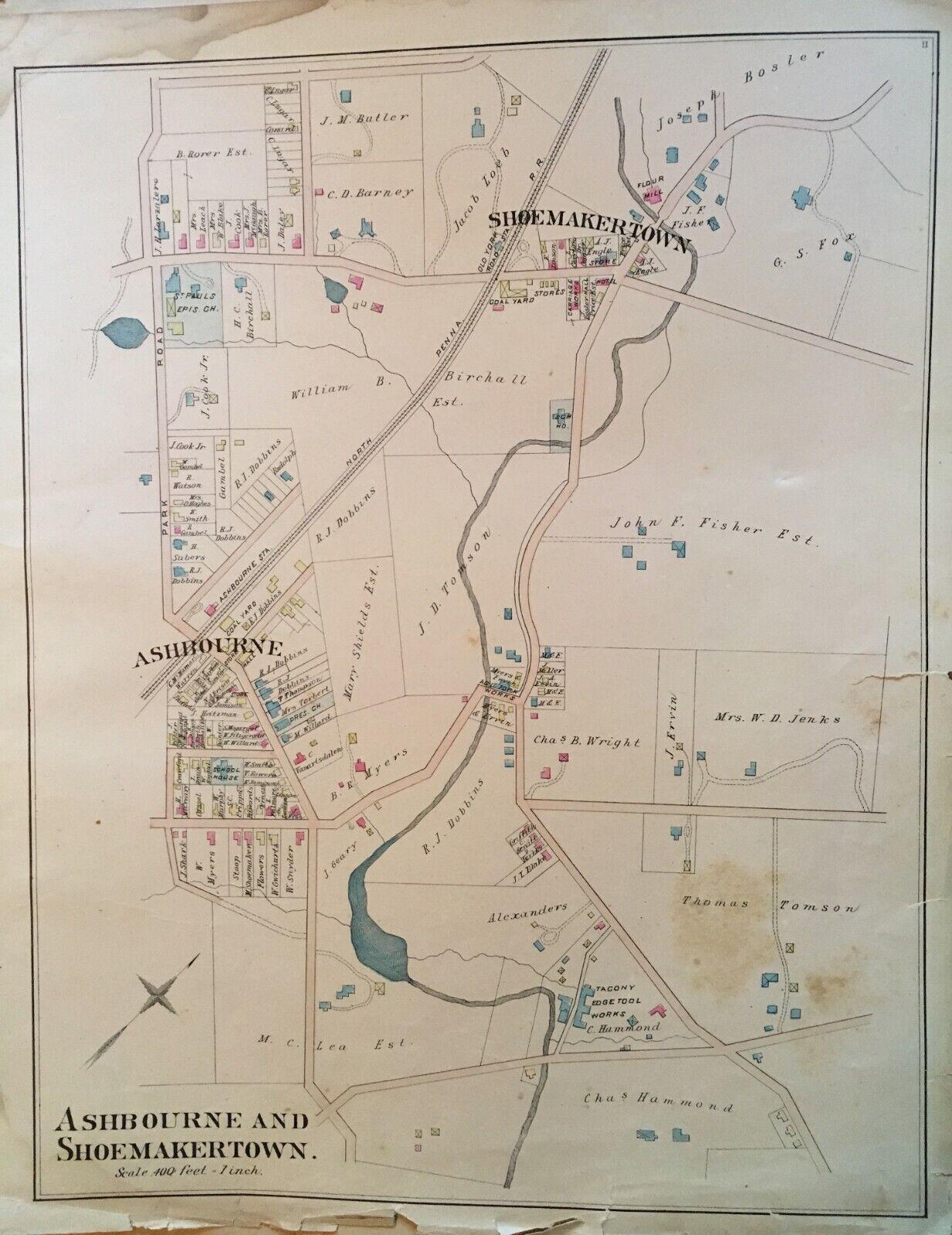 1886 ASHBOURNE schuheMAKERTOWN PHILADELPHIA PA ST. PAULS CHURCH ATLAS MAP