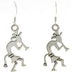 2b0054e6e Image is loading Dangle-Hopi-Kokopelli-Earrings-Sterling-French-Hook-Style