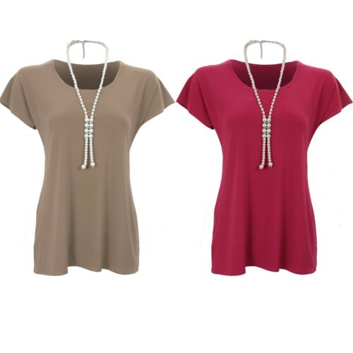 Ladies Short Sleeve Plain Pearl Diamante Necklace Stretchy Tunic Top T-Shirt