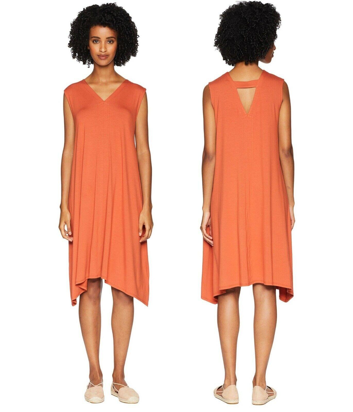 178 Eileen Fisher Naranja Pekoe cortar ligero Viscosa Jersey  Vestido XS  entrega de rayos
