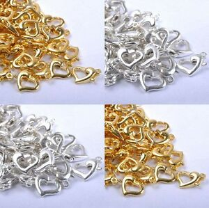20//50Pcs Silver Gold Plated Heart Lobster Clasps Hooks Connector Finding 13x9mm