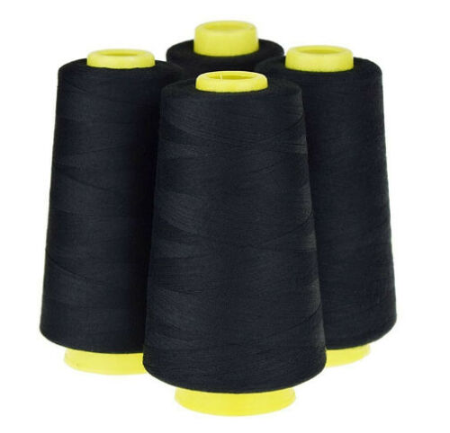 Black 4Pcs 6000 Yards Quality Overlocking Sewing Machine Polyester Thread Cone