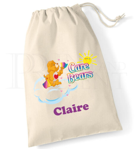 Personalised Care Bears Drawstring Canvas Gym Pump PE Bag
