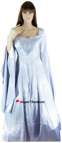 M//L 10-12 Medieval Silver Arwen Guinevere Game of Thrones Dress Gown Costume