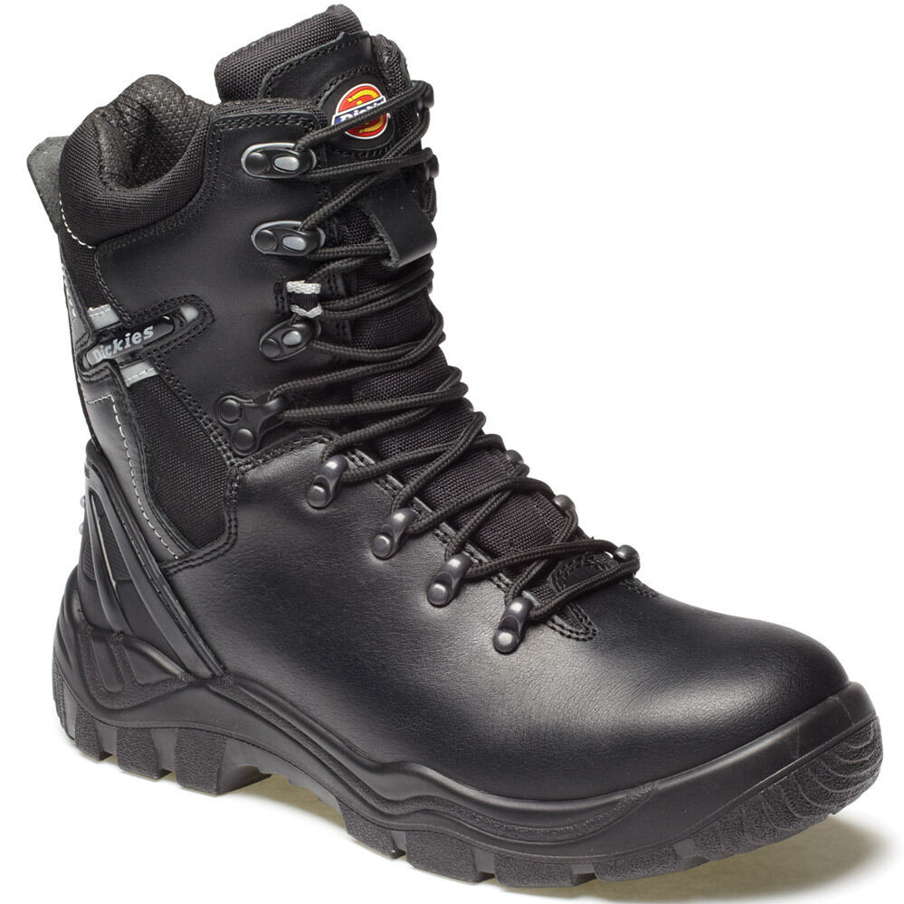 MENS DICKIES QUEBEC LINED SAFETY WORK BOOTS BLACK SIDE ZIP SIZE 6 - 12 FD23375