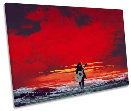 Guitar Sea Sunset Picture SINGLE CANVAS WALL ART Print Red