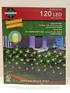 Details About 120 Led Christmas Net Light 4ft X 6ft Clear Warm White Green Wire