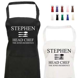 Personalised Kitchen Apron with Name /& Head Chef Text Novelty Head Chef Apron