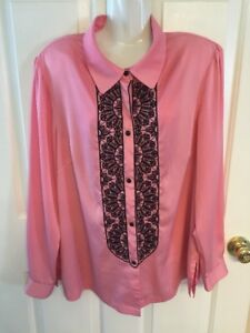 Bob-Mackie-Wearable-Art-Blouse-Pink-Embroidered-Black-Shirt-Women-039-s-size-Large