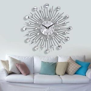 30cm Metal Diamante  Beaded Jeweled Sunburst Round Metal Wall Clock Time