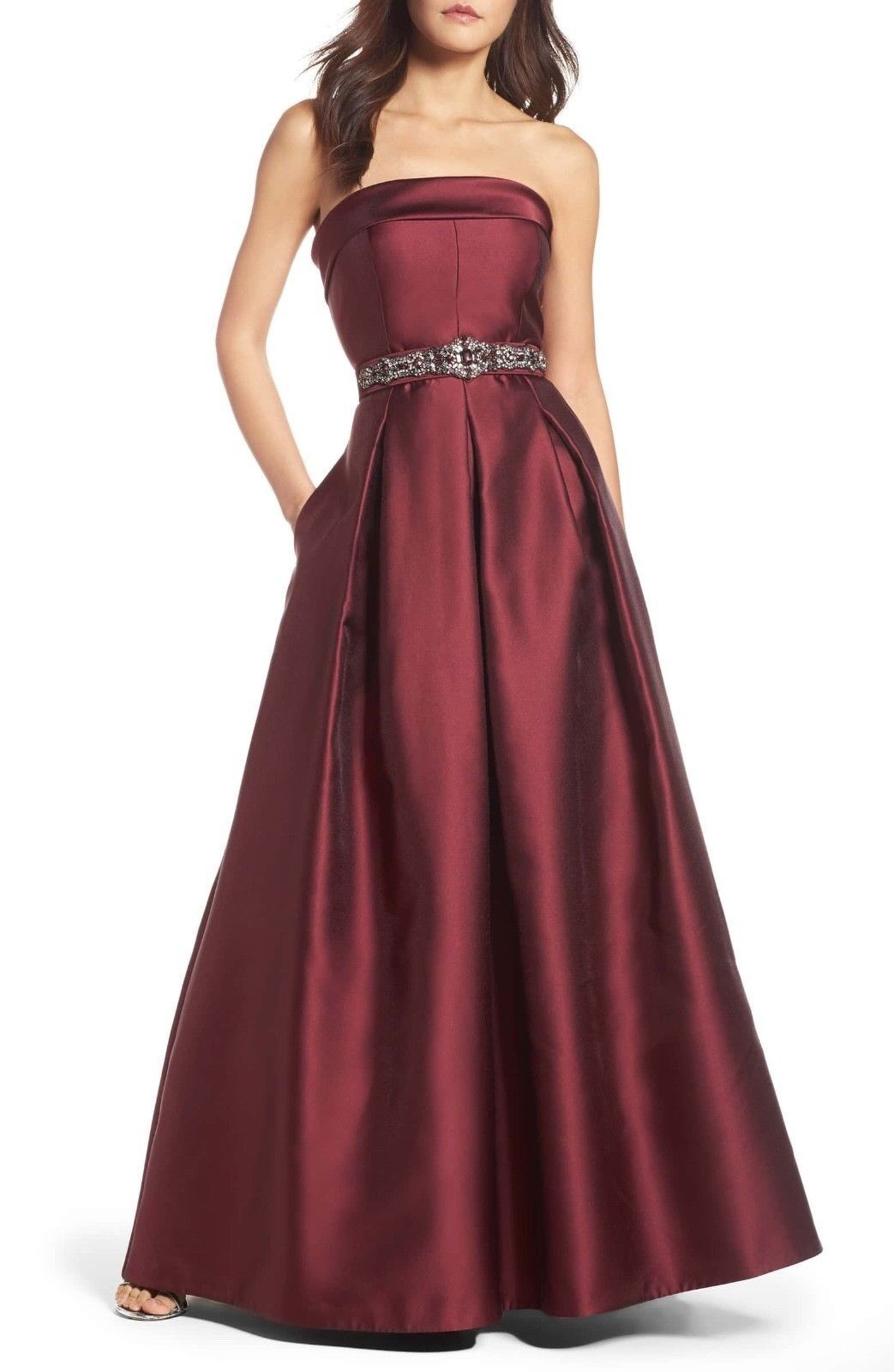 ELIZA J Embellished Belt Belt Belt Strapless Red Burgundy Ball Gown Dress Size 10 de4f5b