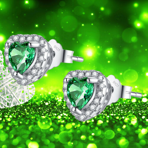 """Women/'s Created Emerald Sterling Silver Pendant Necklace Earring Set  18/"""" Chain"""