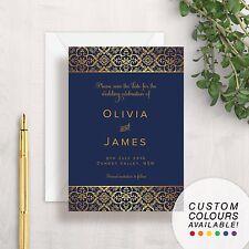 Save The Date Card   Navy Blue & Gold   Elegant Vintage Floral Formal Wedding
