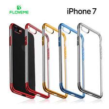 Funda iPhone 7 silicona transparente con bordes de color metalizado FLOVEME
