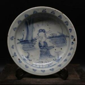Antique-Chinese-Ming-Dy-Blue-amp-White-Porcelain-people-plate
