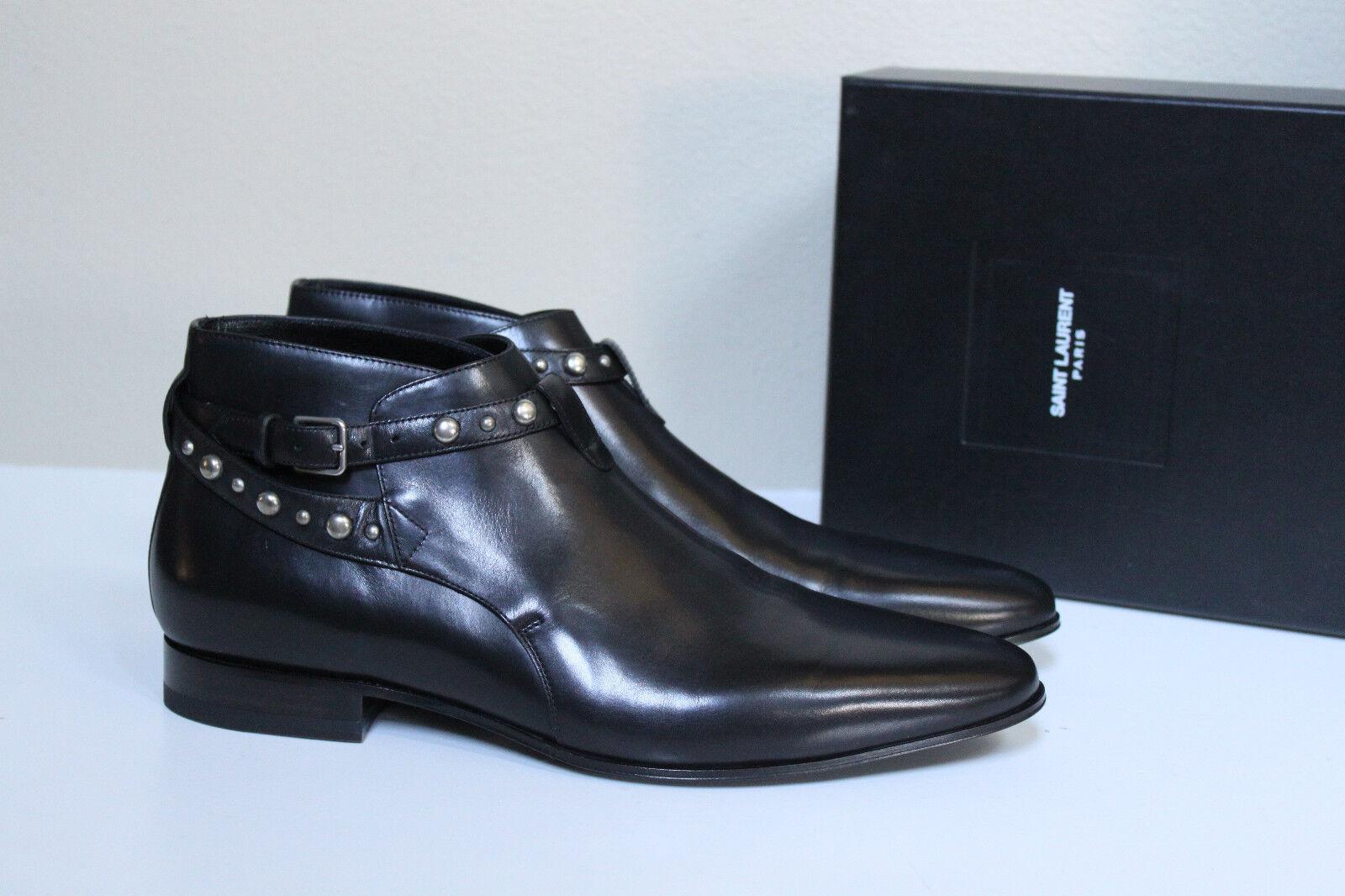 New sz 10.5 US / 43.5 SAINT LAURENT Black Leather Boxer Stud Ankle Boot MEN Shoe