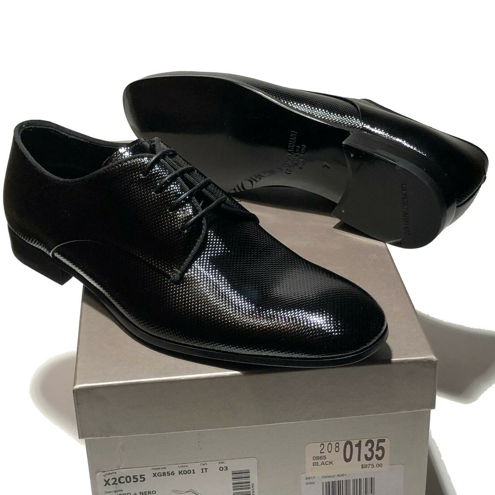 875 Armani Pebbled Patent Leather Formal Dress Wedding Oxford 8.5 Men's Tuxedo