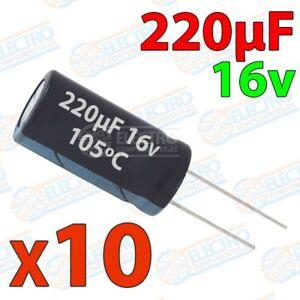 Condensadores Electroliticos 220uf 16v ±20% 6x8mm - Lote 10 Unidades - Arduino E
