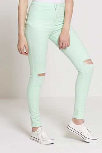 WOMENS RIPPED JEANS KNEE CUT FADED SKINNY FIT DENIM JEGGINGS PLUS SIZE LADIES 16