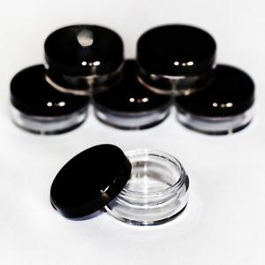 5ml-CLEAR-craft-jars-pots-with-black-lids-VARIOUS-QUANTITIES-jdb