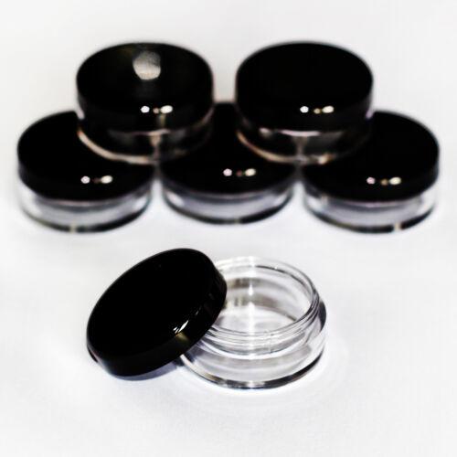 5g CLEAR craft jars pots with black lids VARIOUS QUANTITIES jdb