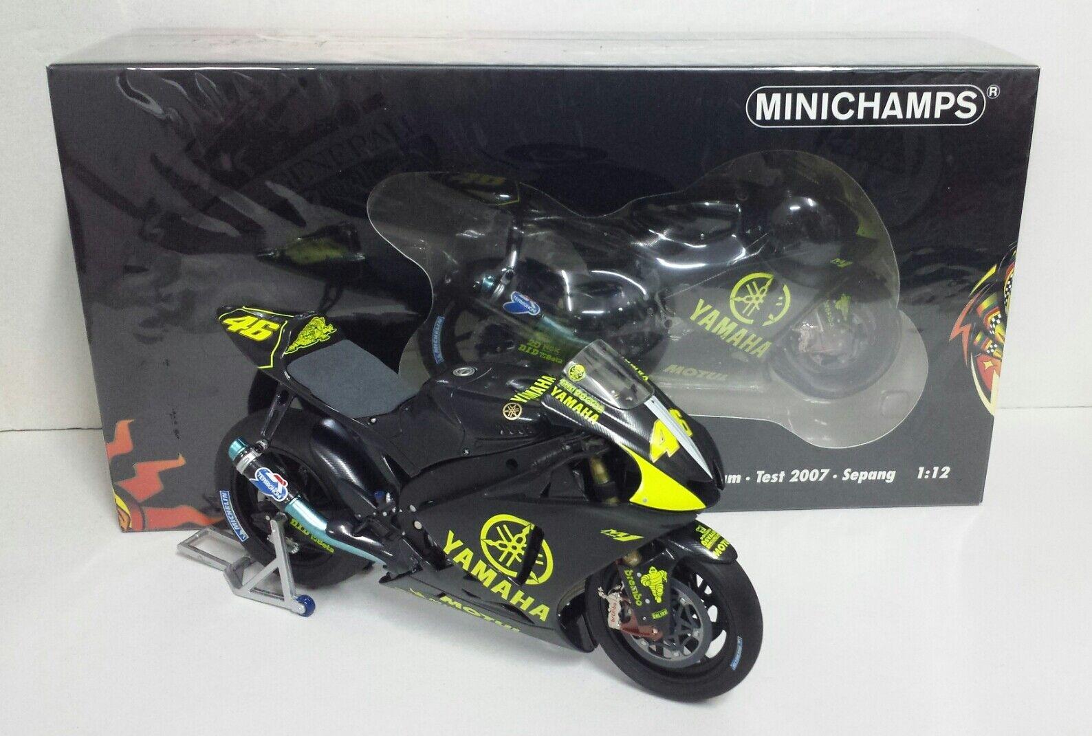 MINICHAMPS VALENTINO ROSSI 1 12 YAMAHA M1 MOTOGP TEST SEPANG 2007 L.E.1007 NEW