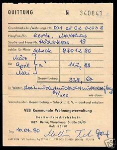 Mietquittung-ueber-Einzahlung-bei-der-KWV-Berlin-Friedrichshain-1990