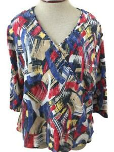 Hearts-of-Palm-Woman-knit-top-size-1X-red-white-blue-3-4-sleeve-beads-V-neck
