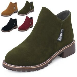 Women-039-s-Low-Chunky-Heel-Almond-Toe-Booties-Zipper-Ankle-Boots-Shoes-Brown-Green