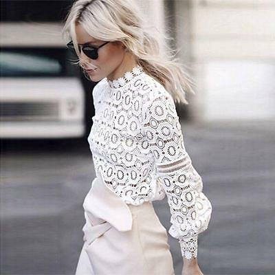 Women Fashion Casual Lace Blouse Shirt Loose Long Sleeve T-Shirt Pullover Tops