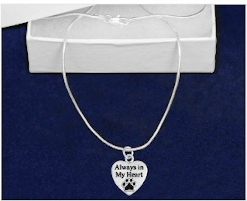 100/% SALE BENEFITS RESCUE Sterling Silver-Plated Always in My Heart Necklace