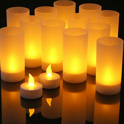 12Pcs Set Remote Controlled Frosted Rechargeable Tea Lights LED Candles Lamp