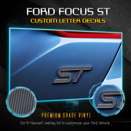 Rear Fits 13-19 Ford Focus ST 2x Inlay Emblem Sticker Front 3D Carbon Fiber