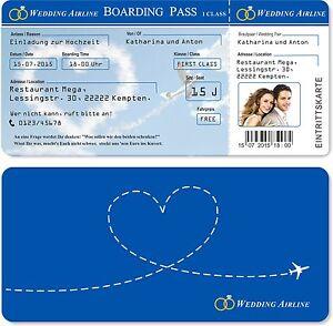 Einladungskarten zur Hochzeit als Flugticket + Ihr Bild mit Abriss ...