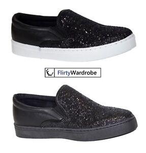 Womens-Ladies-Plimsolls-Flat-Trainers-Sneakers-Shiny-Diamante-Comfort-Shoes-UK