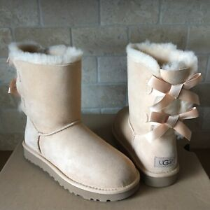 75990454c74 Details about UGG SHORT BAILEY BOW II SOFT OCHRE SUEDE SHEEPSKIN BOOTS SIZE  US 5 WOMENS