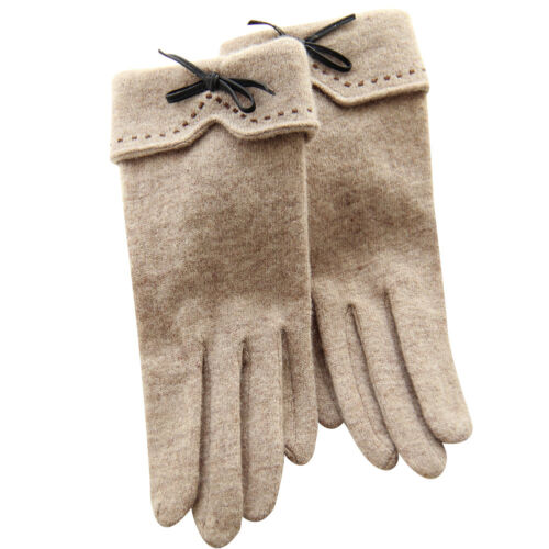 Leather Feel Women/'s Winter Autumn Solid Color Bow Tie Woolen Cashmere Gloves SG