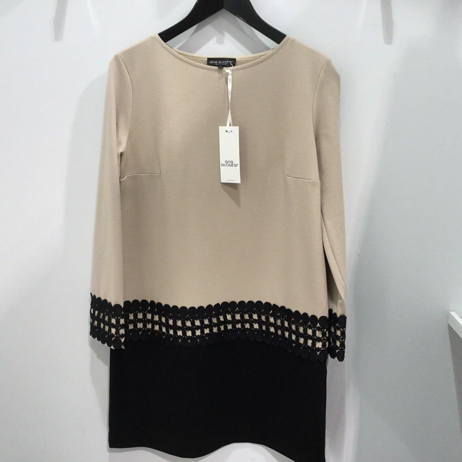 Ana Alcazar Kleid Stretchkleid Gr. 40 beige mit schwarz Damen NEU NP 179 00