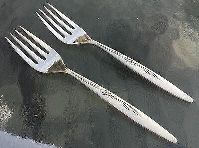 Oneida Gentle Rose Salad Fork Set of Five AKA Enhancement Community Silverplate 6.375
