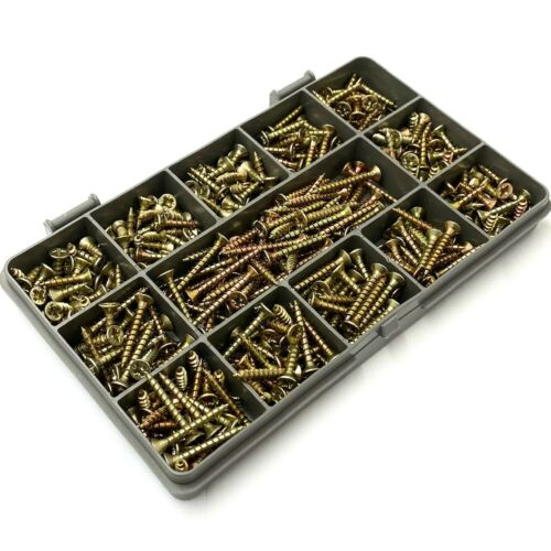 380 ASSORTED 3.5mm TIMCO SOLO YELLOW WOOD SCREW POZI COUNTERSUNK WOOD SCREWS KIT