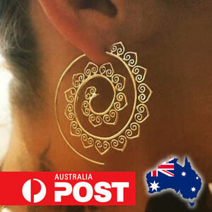 Womens-Boho-Bohemian-Infinity-Spiral-Gypsy-Earrings-Tribal-Ethnic-Hoop-Jewellery
