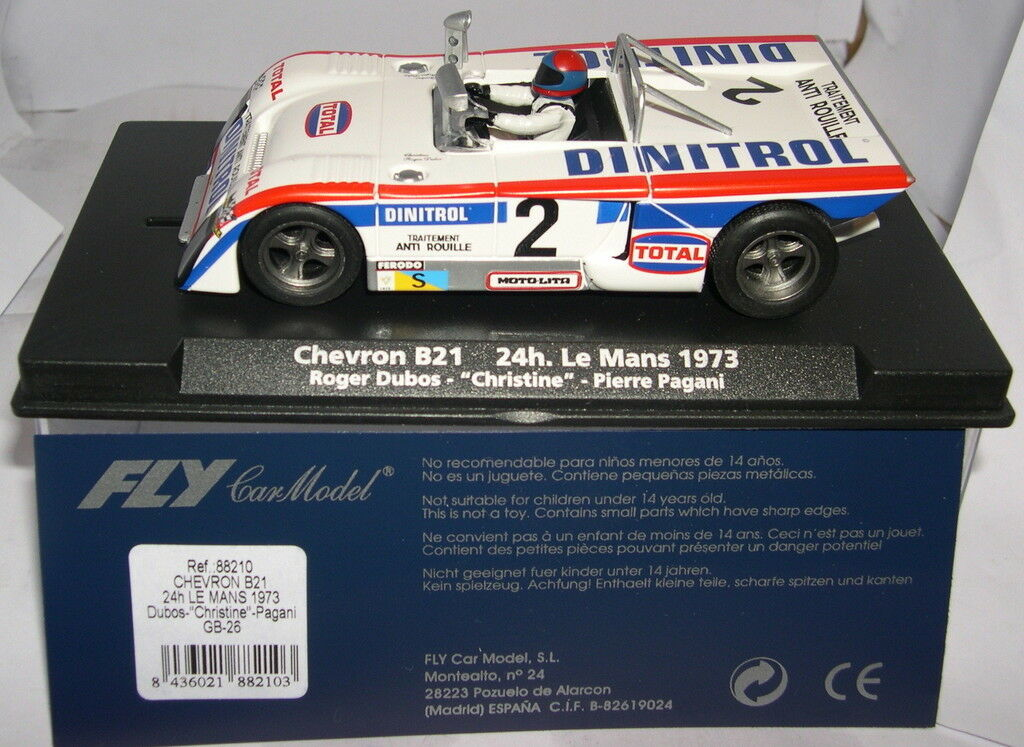 FLY 88210 GB-26 SLOT CAR CHEVRON B21 LE MANS 1973 DUBOS-CHRISTINE-PAGANI