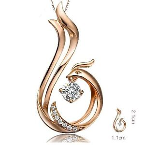 Love forever phoenix pendant round cut diamond solid 18k rosewhite image is loading love forever phoenix pendant round cut diamond solid aloadofball Images