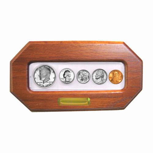In Custom Oak Frame 1976-5 Coin Year Set Choice Brilliant Uncirculated