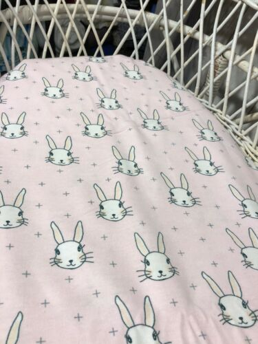 Bassinet fitted sheet Moses Boori Pink bunny grey fox face flannelette cotton