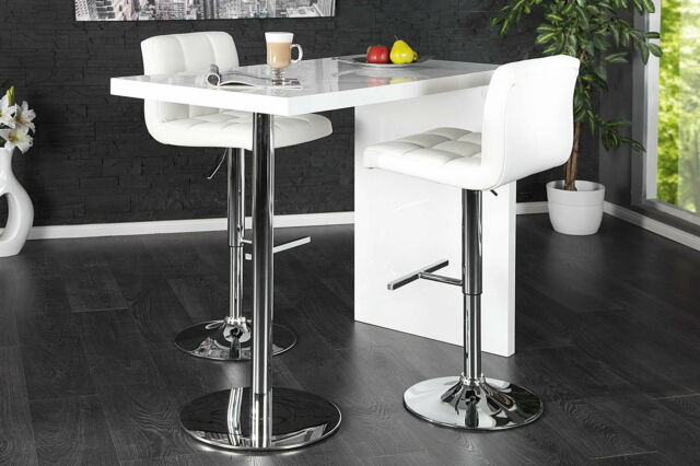 High Gloss White Breakfast Bar Table Dining Kitchen Stand Steel Modern Furniture