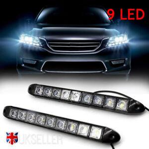 2x-Universel-12-V-9-LED-Feux-de-jour-DRL-Voiture-Brouillard-Jour-Conduite-Lampe