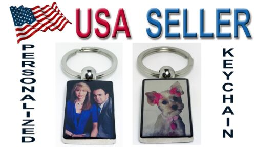 Personalized Keychain keyring custom picture photo Stainless Steel Double sided