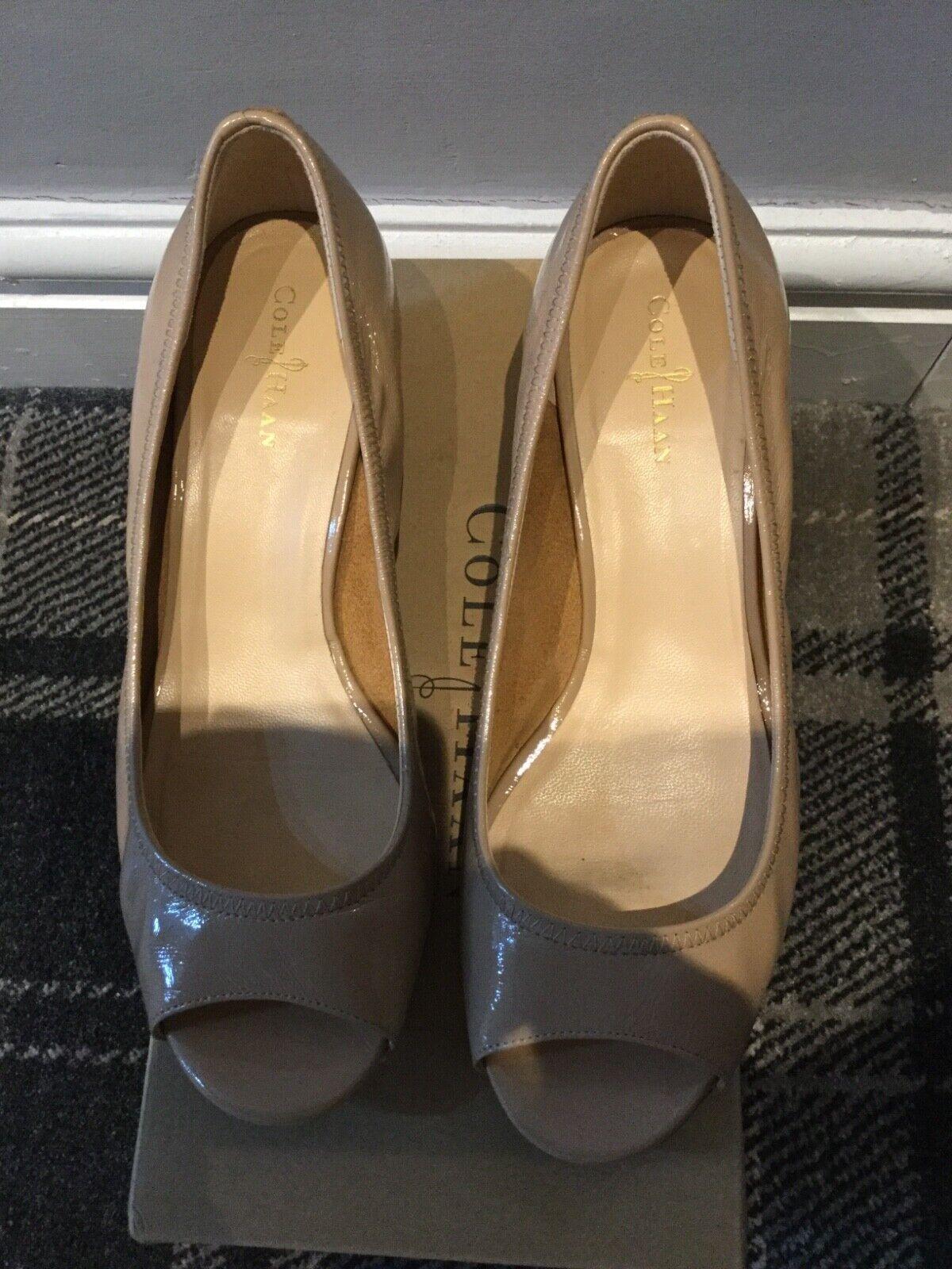 Ladies Cole Haan Beige Patent leather mules uk5.5